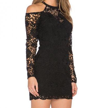 Black Lace Cold Shoulder Long Sleeve Short Bodycon Dress On Luulla