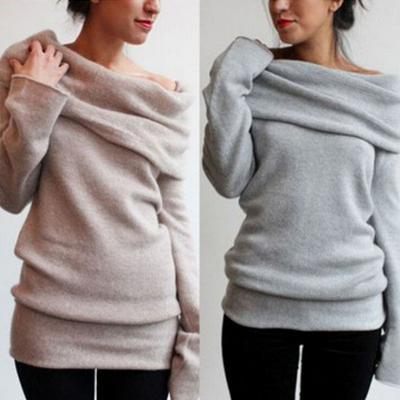 Pure color long-sleeved sweater L40793