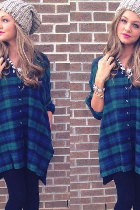 Fashion checkered lapel T-shirt 8266593