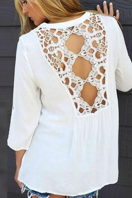 Lace stitching round neck chiffon shirt 6290814