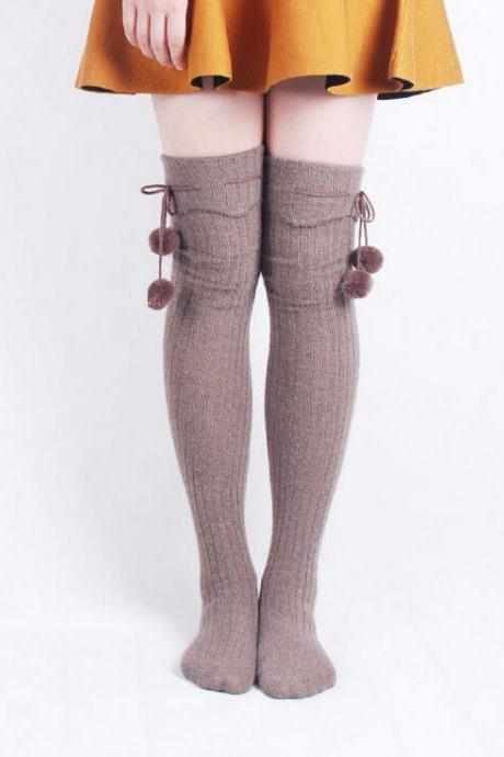 Fashion solid color striped knee Socks 8551502