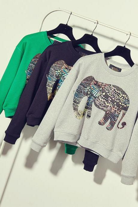 Retro Elephant Print Loose Sweater 3892178